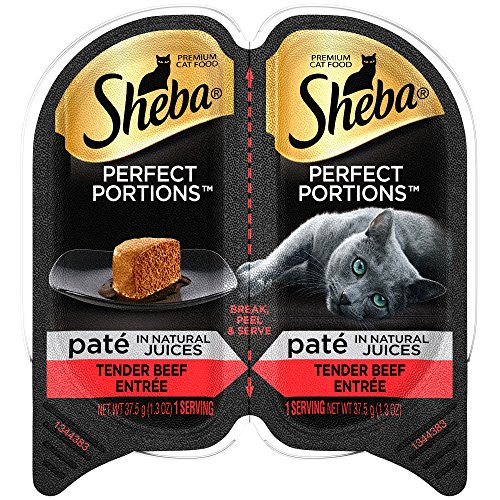 SHEBA PERFECT PORTIONS Paté in Natural Juices Tender Beef Grain Free Cat Food 2.6 Ounces (24 Twin Packs)