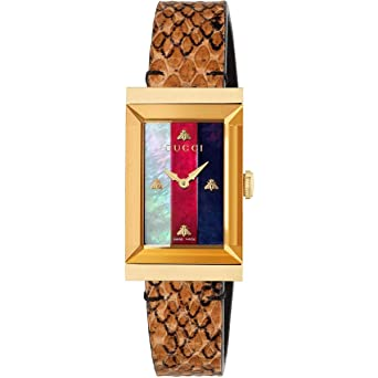 74a9ce0c1cf Image Unavailable. Image not available for. Color  Gucci G-Frame Mother of Pearl  Dial Ladies Leather Watch YA147402