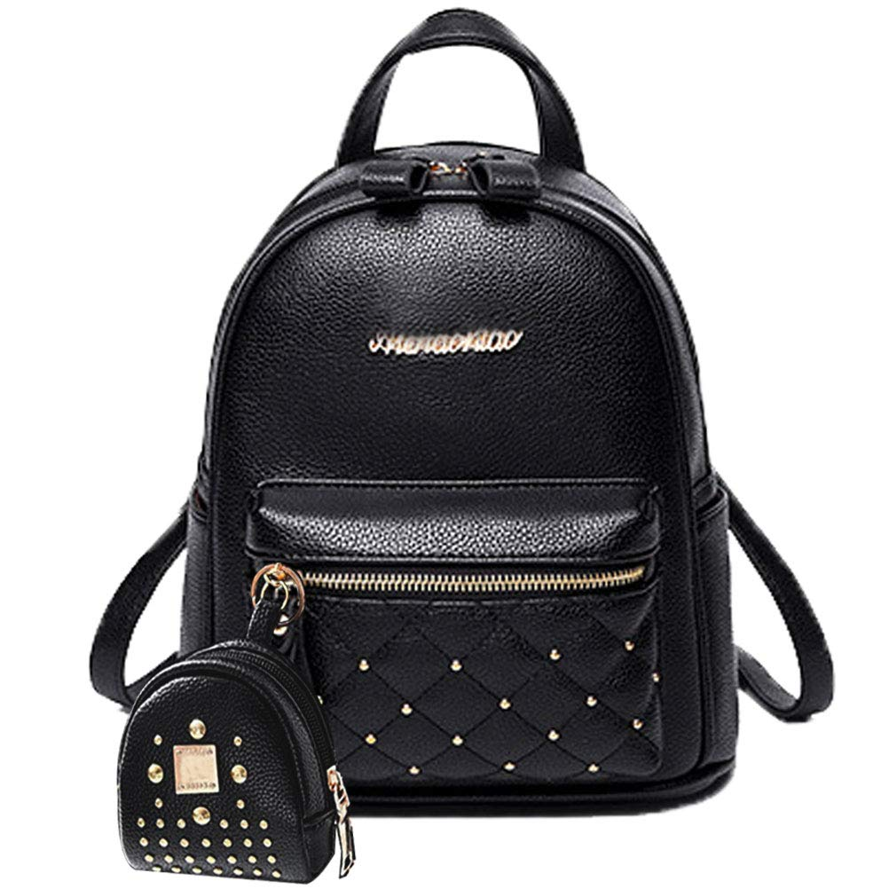 Donalworld Women Floral School Bag Travel Cute PU Leather Mini Backpack S Col4