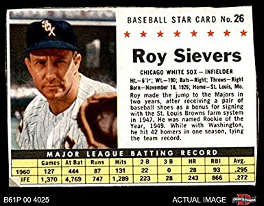 1961 Post Cereal   26 BOX Roy Sievers Chicago White Sox (Baseball Card) ( b0add816abe2