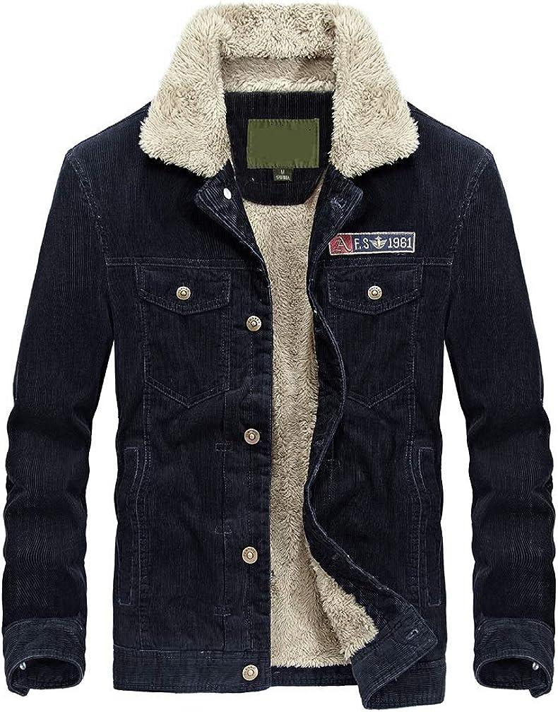 Lavnis Men's Corduroy Trucker Jacket Casual Stand Collar Button Down Fleece Denim Jacket at  Men's Clothing store