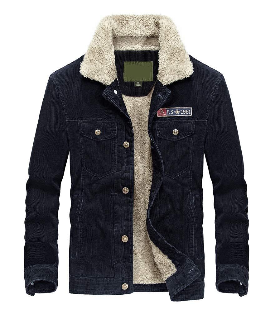 Lavnis Men's Corduroy Trucker Jacket Casual Stand Collar Button Down Fleece Denim Jacket Blue XL by Lavnis