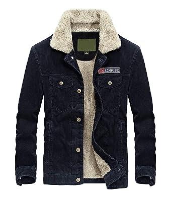 dcc5209942 Lavnis Men's Corduroy Trucker Jacket Casual Stand Collar Button Down Fleece Denim  Jacket Blue S