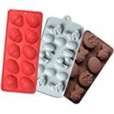 Silicone Molds for Candy, Cake, Chocolate and Ice Cube, Easter Egg and Bunny Mold, Includes Egg, Rabbit, Lily and duck, Color
