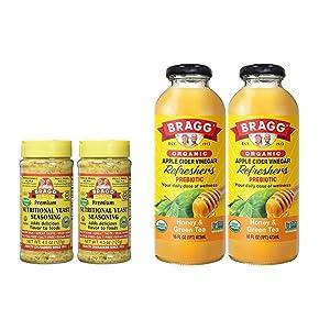 Bragg Nutritional Yeast Seasoning 4.5 Oz Pack of 2 and Bragg Organic Honey Green Tea Vinegar Drink 16 Oz Pack of 2 Bundle