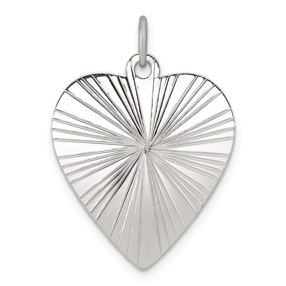 Sterling Silver Engravable Heart Polished Front//Satin Back Disc Charm