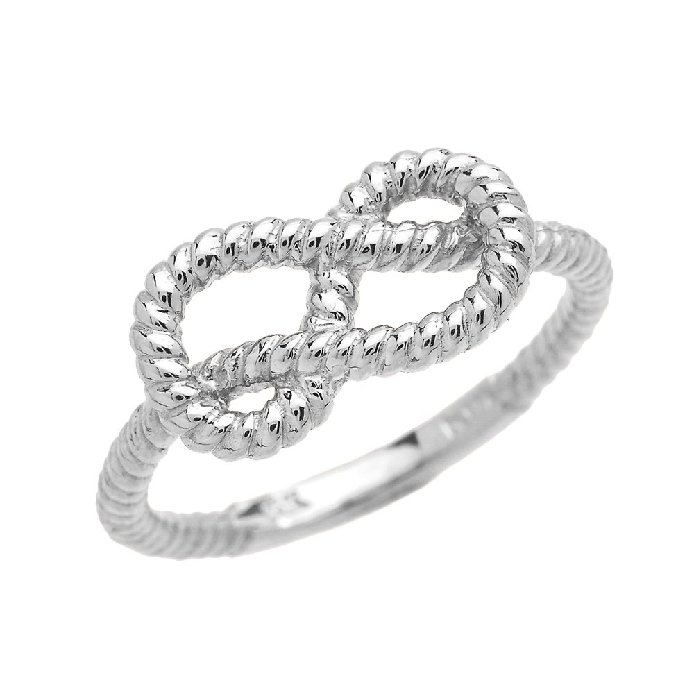 10k White Gold Twisted Style Rope Band Love Knot Promise Ring (1.7 mm band width) (Size 7.5) by Unknown