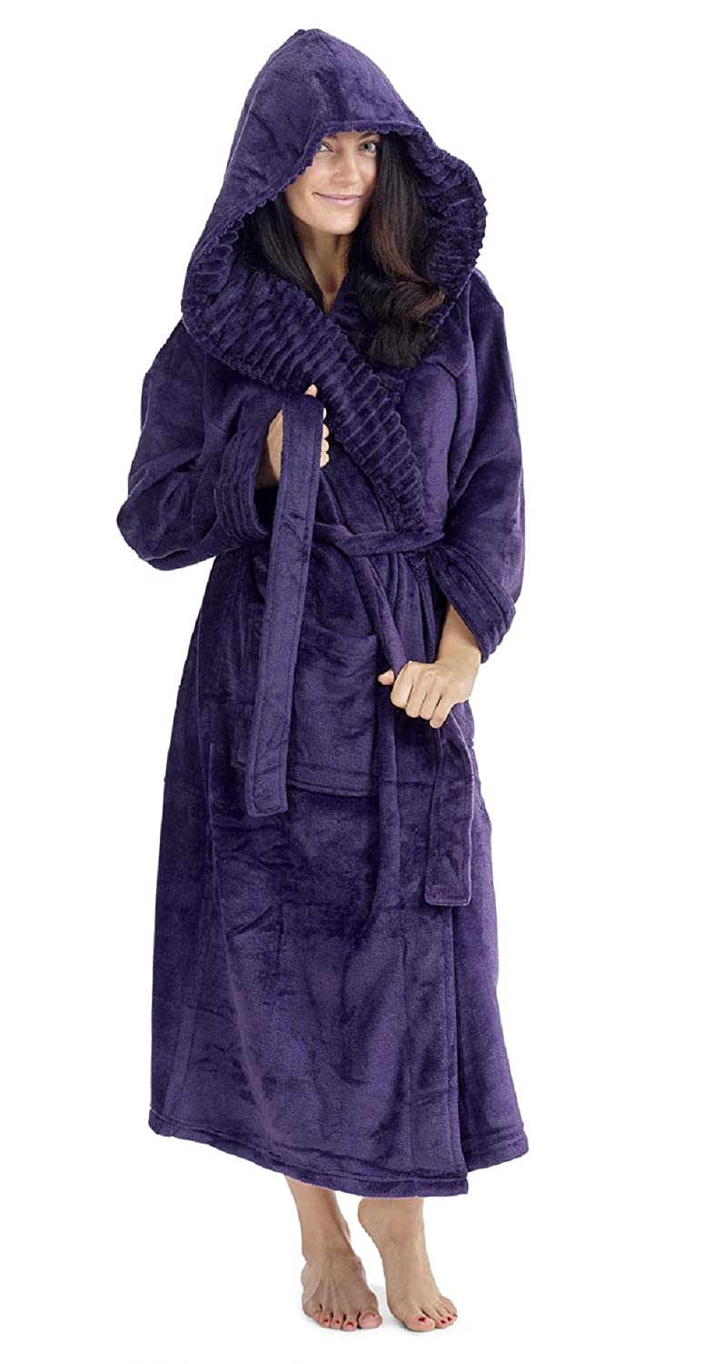 eeabe6312eb3a CityComfort Ladies Dressing Gown Fluffy Super Soft Hooded Bathrobe for Women  Plush Fleece Perfect for Spa Gym Loungewear Long Robe