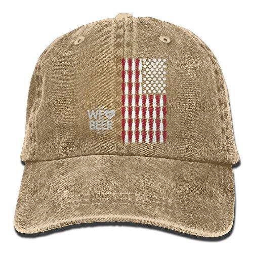 Men's Women's Beer USA Flag Cotton Adjustable Peaked Baseball Dyed Cap Adult Washed Cowboy Hat ()