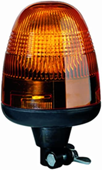 DIN Pole Mount Compact Rotating Flashing Amber Halogen Beacon 12-24V