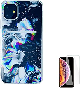 Wallet Case Compatible for iPhone 11R XIR 6.1 inch 2019 with Card Holder Slot Ultra-Slim Thin Soft TPU Clear Cover Compatible for iPhone 11/XI 11R with Screen Protector (Black Watercolor Marble)