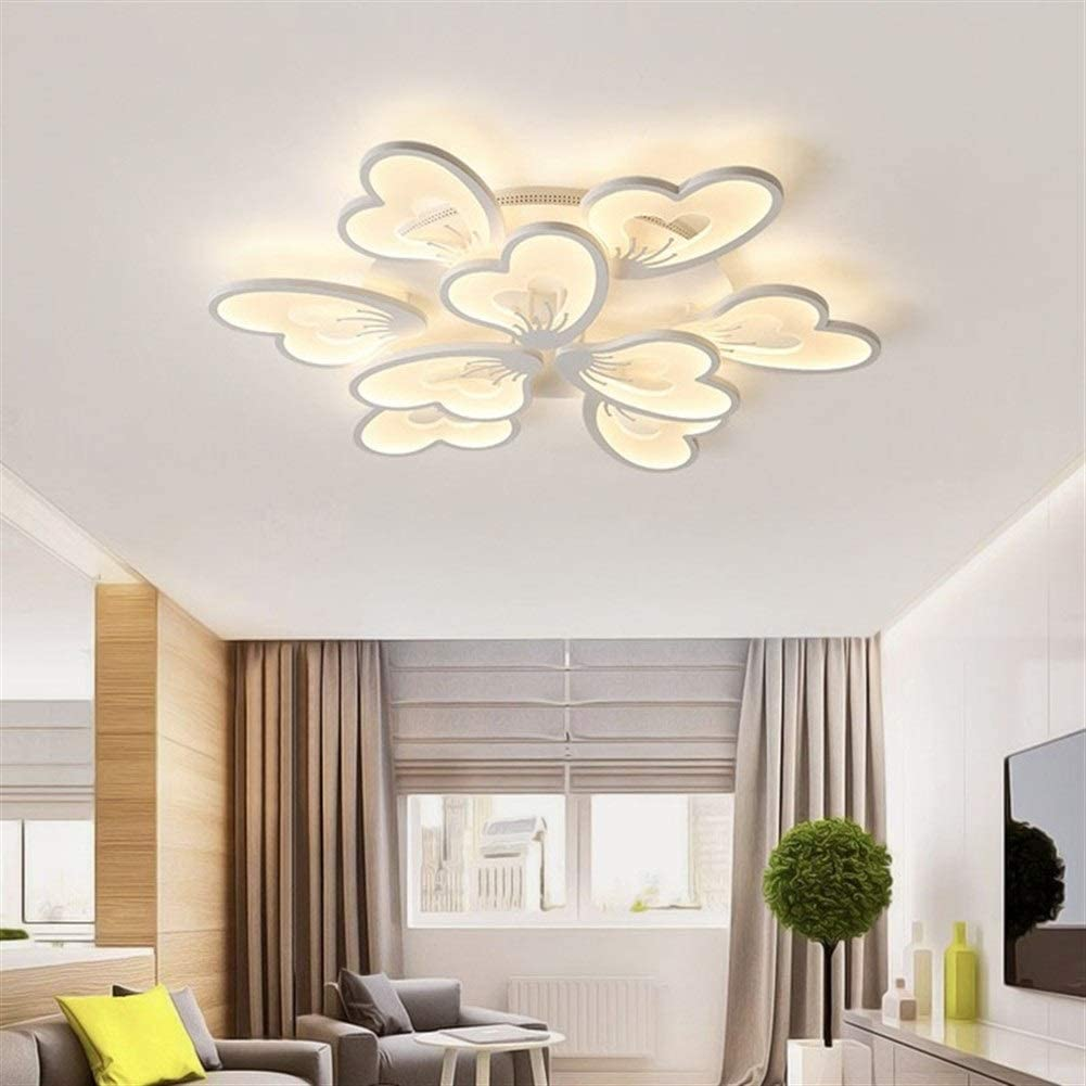 Color : Dimmable Remote, Size : White Mrjg LED Creative plafonnier de LED avec Le Papillon en Forme for la Cuisine Salon//Salle /à Manger//Bureau Chambre Chambre Blanc//Noir T/él/écommande luminaire