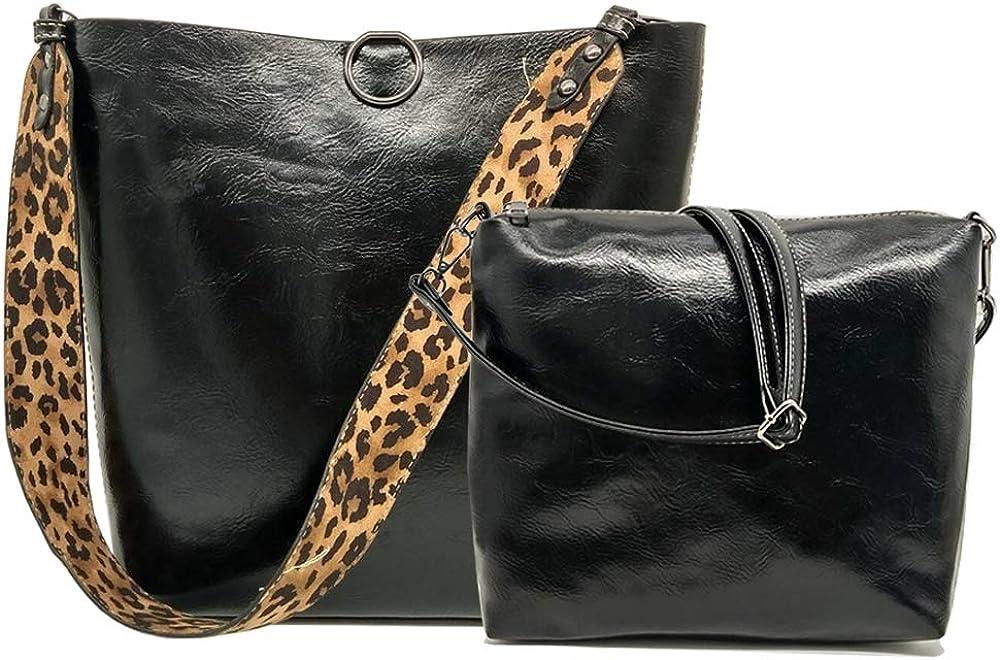 FiveloveTwo Women 2Pcs Leopard Print Shoulder Bag Set Satchel Totes Handbag Purse