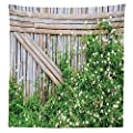 Farm House Decor Tablecloth Bamboo Fence Covered by Ivy Daisy Flower Blooms Chamomile Petals Picture Dining Room Kitchen Rectangular Table Cover Green Brown