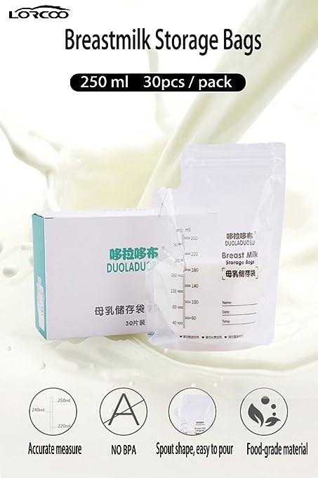 Lorcoo 200ml bolsas para almacenaje de leche materna ...