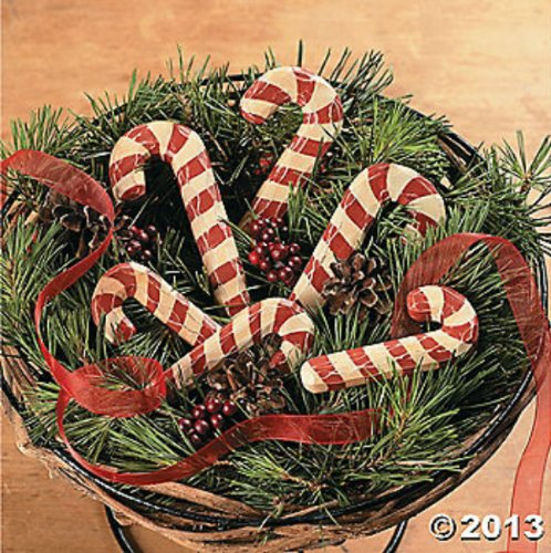 Set of 6 Primitive Carved Wood Candy Canes Rustic Distressed Wooden Decor Christmasd Holiday Accent Candycane Decoration -