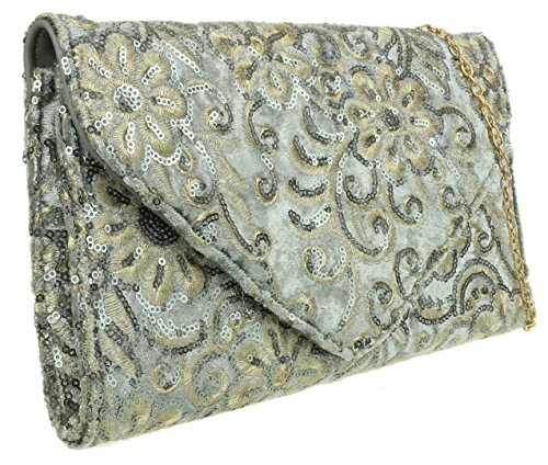 Flowers Bag HandBags Sequins Grey Girly HandBags Girly Clutch RYUfUHPt