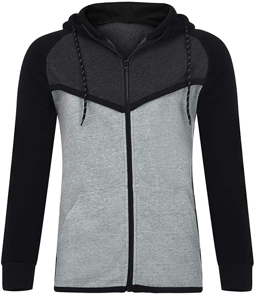 DEESEE TM ❦Hooded Sweatshirt ❦Men Zipper Splicing Color Pullover Tops Blouse
