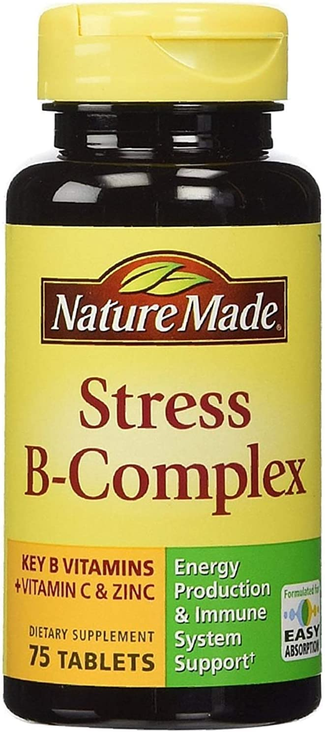 Nature Made Stress B-Complex Dietary Supplement Tablets with Vitamin C Zinc 75 ea Pack of 6
