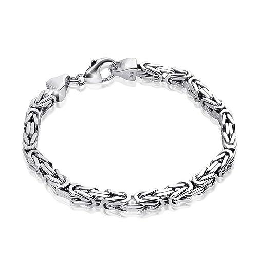 codice promozionale d293c ab49b MATERIA Bracciale da uomo a catena bizantina, in argento 925 diamantato e  rodiato, da 3 mm, di produzione tedesca, codice: SA-36