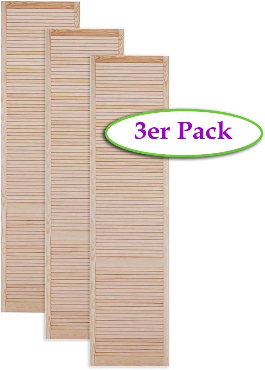 Schr/änke M/öbel Lamellent/ür Holzt/ür natur 61,5 x 59,4 cm mit offenen Lamellen f/ür Regale Kiefer Holz unbehandelt