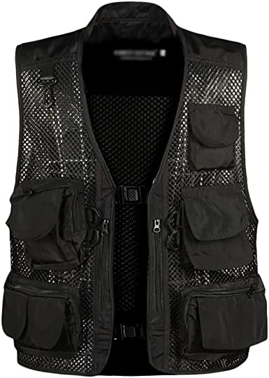 IyMoo Mens Fishing Vest Multi Pockets Mesh Detachable Photography Outdoor Climbing Causual Tactical Multi Use Vest