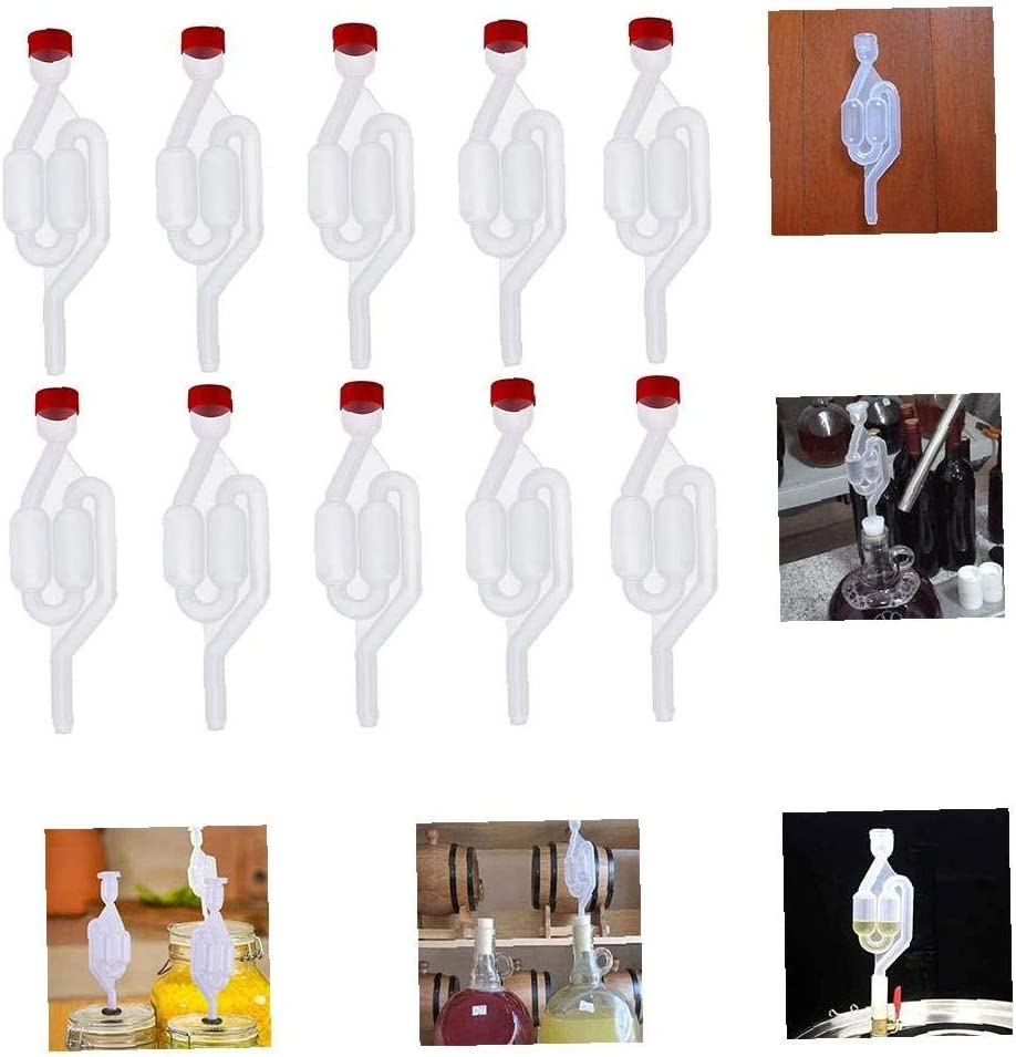 EElabper Wine Fermentation Airlock Kit Stopper Exhaust High Transparent S Shape for Brew Beer Wine Making 10PCS
