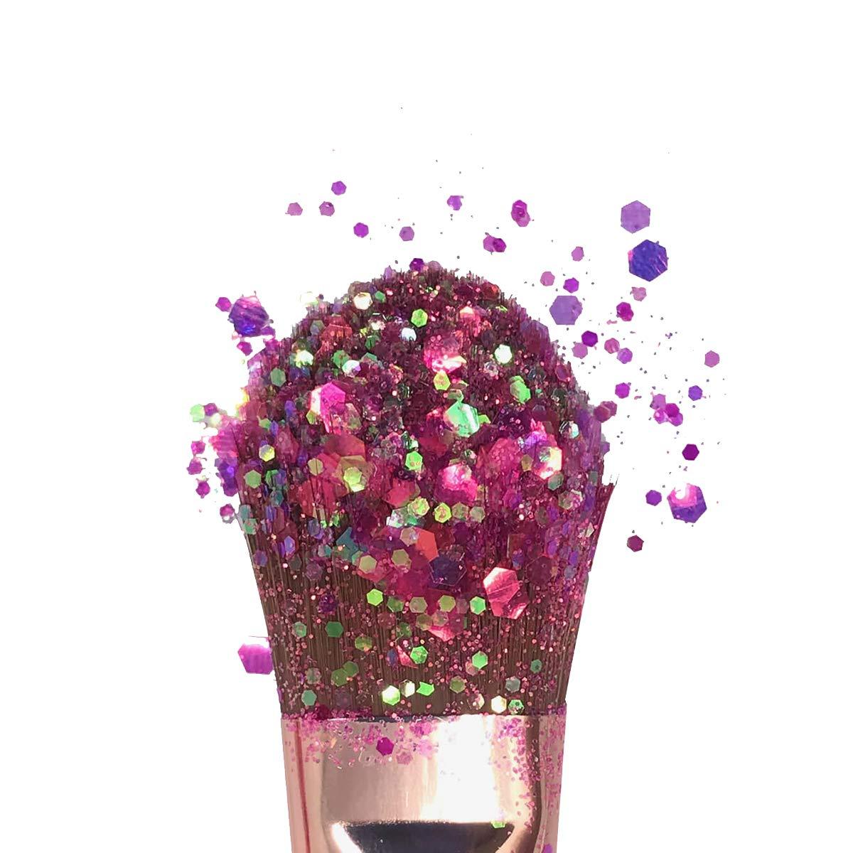Hemway Hot Pink Iridescent Mix Glitter Chunky Multi Purpose Dust Powder Arts & Crafts Wine Glass Decoration Weddings Flowers Cosmetic Face Eye Body Nails Skin Hair Festival 100g by Hemway (Image #5)
