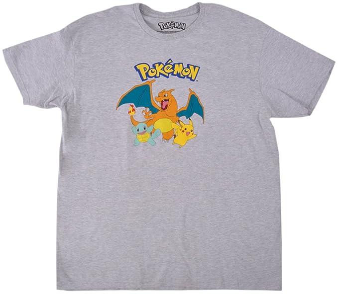 ddb15d64 Amazon.com: Nintendo Pokemon Pikachu Charizard Squirrel T-Shirt Grey ...