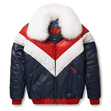 Goose Country Leather V-Bomber Jacket Red White Blue with ...