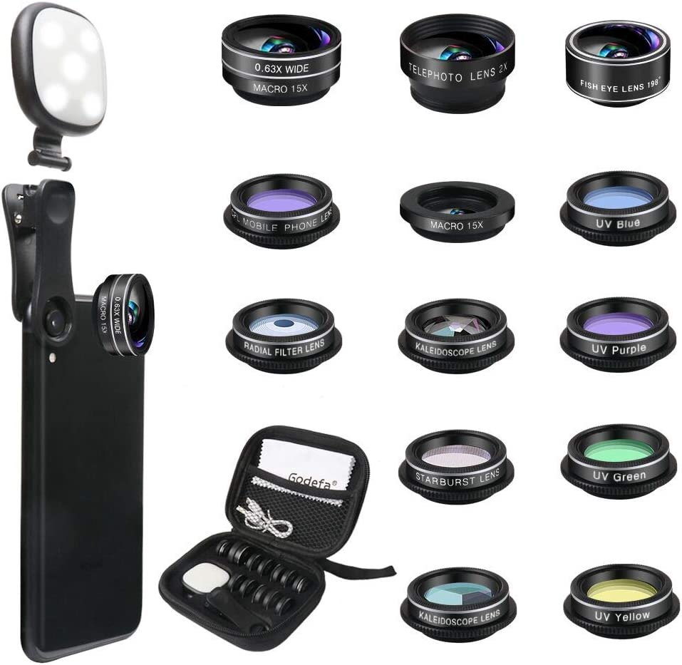 Amazon Com Godefa Phone Camera Lens Kit 14 In 1 Lenses With Selfie Ring Light For Iphone Xs Xr 8 7 6s Plus Samsung And Other Andriod Smartphone Universal Clip On Wide Angle Macro Zoom
