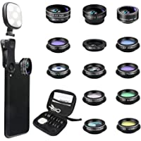 Godefa Phone Camera Lens Kit, 14 in 1 Lenses with Selfie Ring Light for iPhone 12, 11, Xs, Xr,8 7 6s Plus, Samsung and…