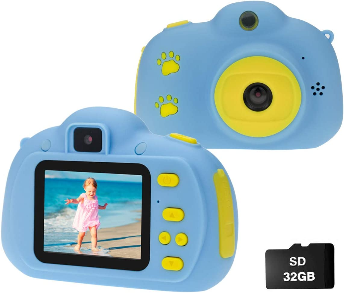Cocopa Camera for Kids Cameras for Girls Video Camera 32 GB TF Card Toys for 5 4 6 Years Old Girls Selfie Digital Cameras for Children Birthday Gifts for Girls Aged 7 8 9 10 Toddlers (Blue)