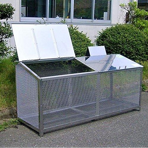 サステック ゴミ収納BOX ワンニャンカア F-180M  『ゴミ袋(45L)集積目安 13袋、世帯数目安 9~12世帯』『ゴミ収集庫』『ダストボックス ゴミステーション 屋外 ステンレス』 B077SLLCNB