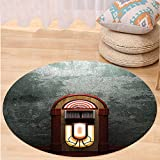 VROSELV Custom carpetJukebox Scary Movie Theme Old Abandoned Home with Antique Old Music Box Image for Bedroom Living Room Dorm Petrol Green and Brown Round 79 inches