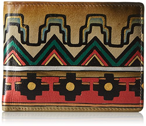 Anuschka Hand Painted Leather RFID Blocking Two Fold Men's Wallet | Antique Aztec