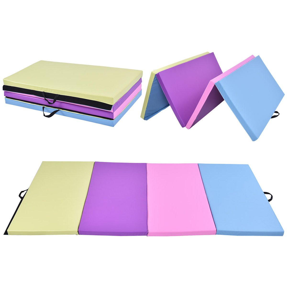 Multi-Colors Thick Gymnastics Mat PU Zipper Stretching Yoga Folding 4 Panels by DTOFREE