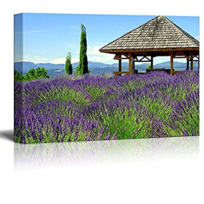 Canvas Prints Wall Art - Beautiful Scenery Gazebo in Lavender Field | Modern Wall Decor/Home Art Stretched Gallery Canvas Wraps Giclee Print & Ready to Hang - 12