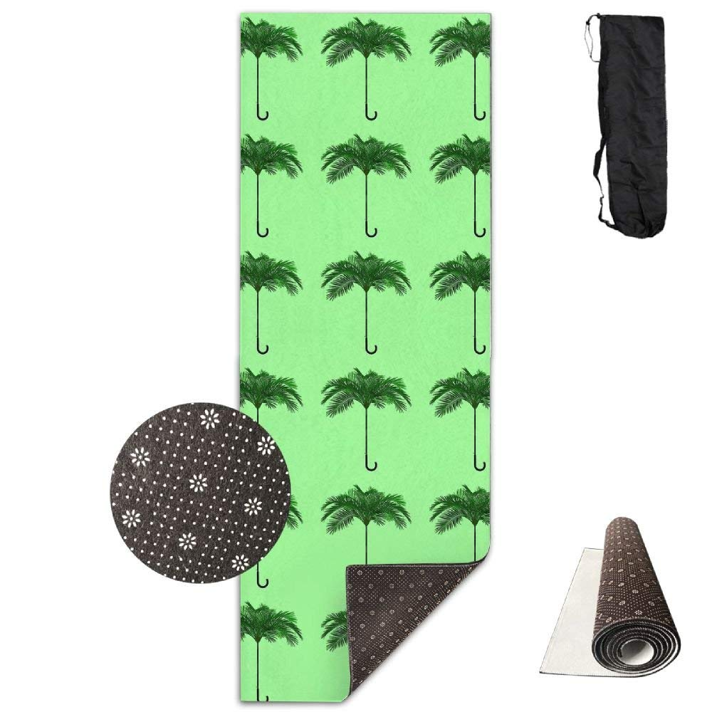 Non Slip Yoga Mat,Palm Umbrella 3D Print 71X24 Inch Velvet with Carrying Strap