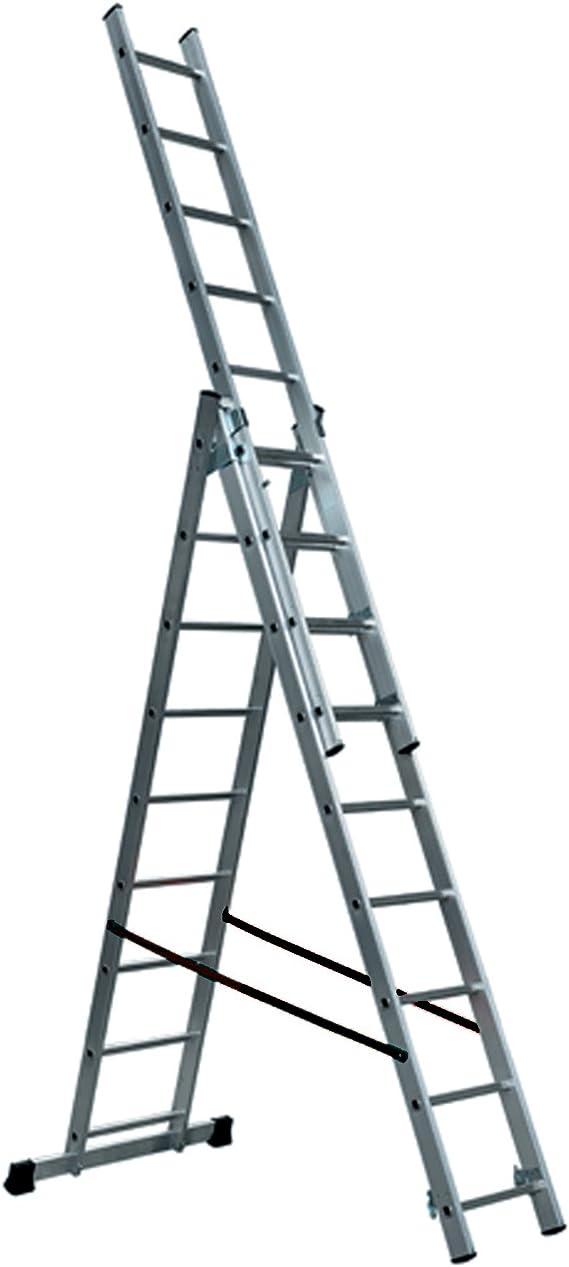 DP Design® Escalera extensible profesional de aluminio, 5,89 metros, 3 tramos de 2,55 cm, 9 peldaños: Amazon.es: Deportes y aire libre