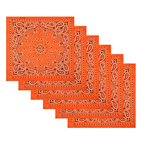 Dozen Bandanas - 6 Pack Cotton Handkerchiefs Wreath Bandana,Orange