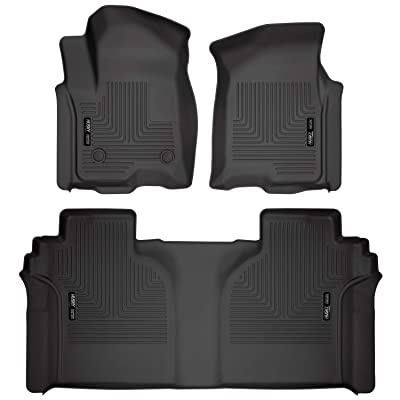 Husky Liners Fits 2020-20 Chevrolet Silverado/GMC Sierra 1500 Crew Cab - with Carpeted Factory Storage Box Weatherbeater Front & 2nd Seat Floor Mats: Automotive