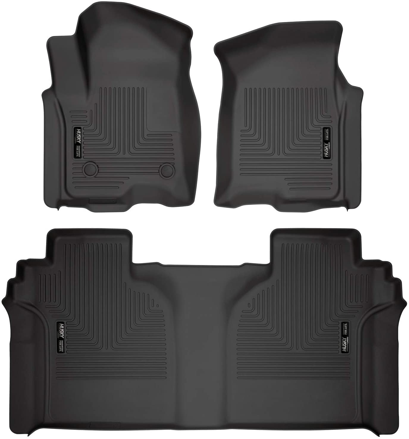 Husky Liners Fits 2019-20 Chevrolet Silverado/GMC Sierra 1500 Crew Cab – with Carpeted Factory Storage Box Weatherbeater Front & 2nd Seat Floor Mats,Black,94021