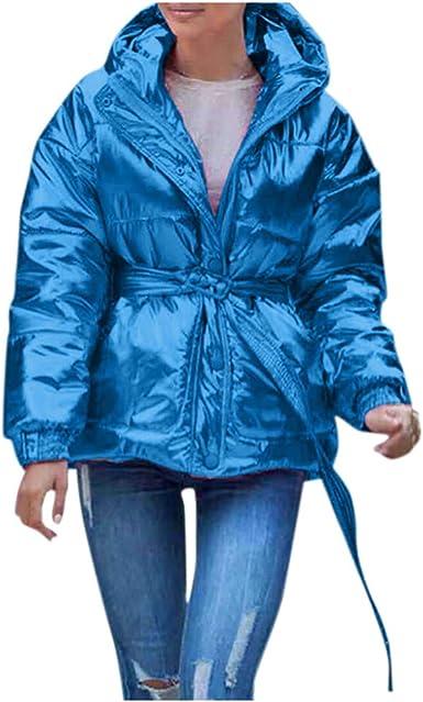 Abrigo de Mujer Invierno Algodón Cortas Casual PAOLIAN Chaquetas de Mujer con Capucha Otoño Reflectante con Faja Fiesta Chaquetón Acolchado Elegantes Vestir Mujer Guateado Trench: Amazon.es: Ropa y accesorios