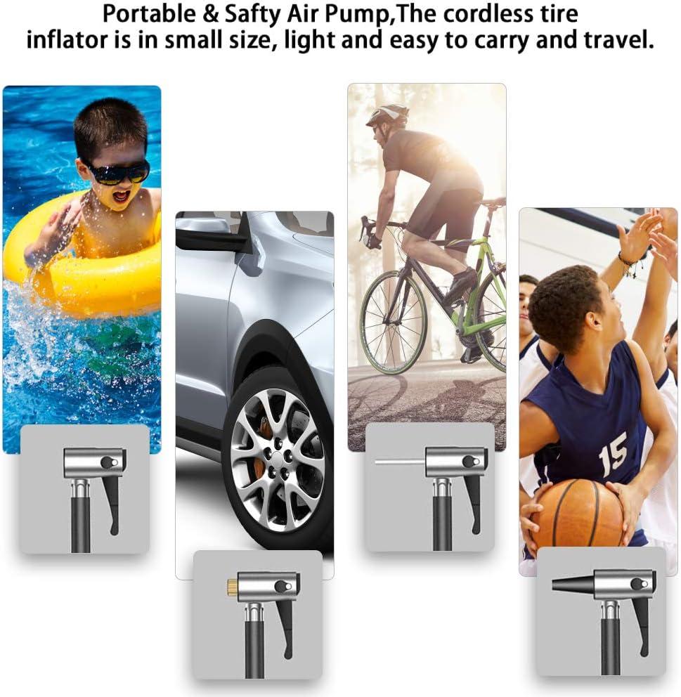 InLoveArts Intelligent Digital air Pump Portable Mini inflator Vehicle-Mounted Wireless Car Tire Inflator USB Charging Digital Display for Ball,Bike,Motorcycle,Car