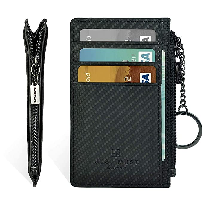 9d2156a7c725 Slim Leather Wallets for Women & Men - RFID Blocking Front Pocket Credit  Card Holder Wallet with Keychain and Zipper Design