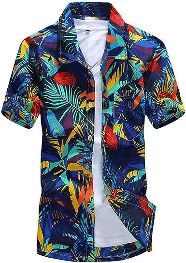 VJGOAL Camisa Hawaiana para Hombre Talla Grande con Solapa de ...