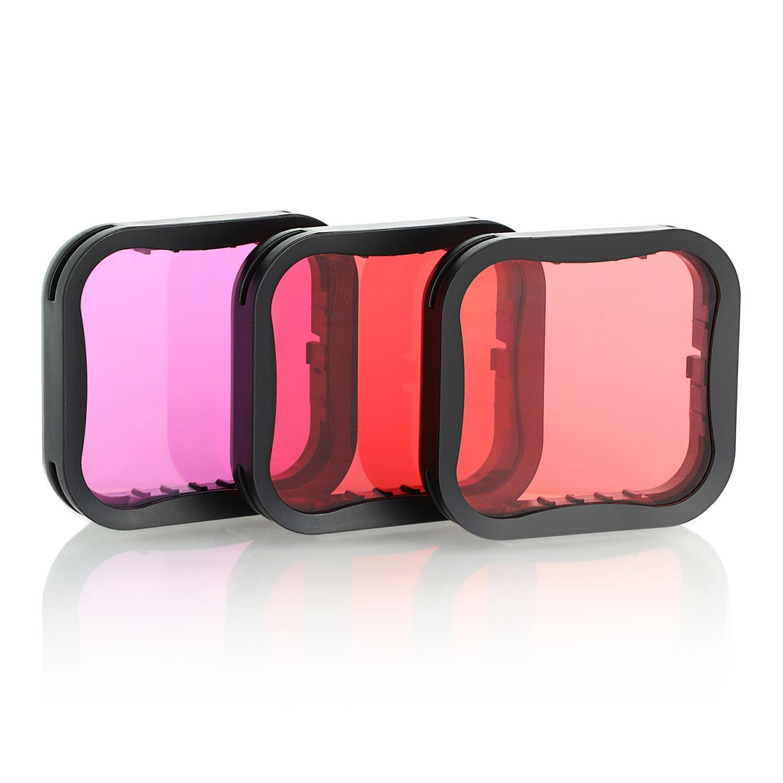 SOONSUN 3 Pack Dive Filter for GoPro Hero 6 / Hero 5 Super Suit Dive Housing - Red,Light Red and Magenta Filter - Enhances Colors for Various Underwater Video and Photography Conditions