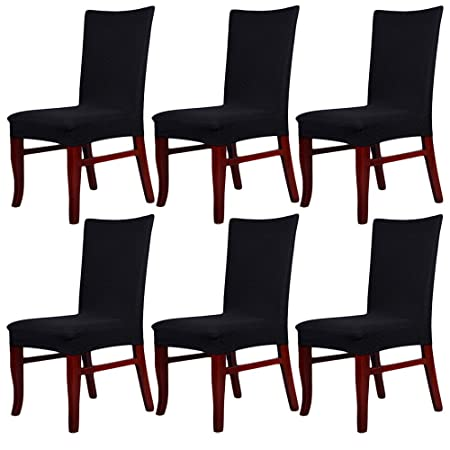 Greenmigo Set Of 6 Stretch Dining Chair Seat Covers Slipcovers With DesignRemoveable And Washable