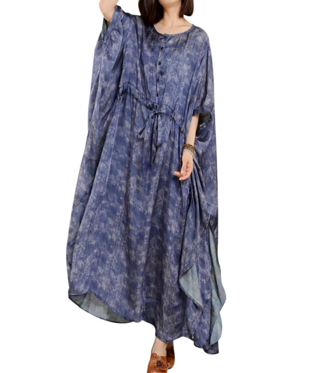 YESNO JO4 Women Long Loose Printed Dress 100% Silk Bohemia Plus Size Kimono Sleeve Drawstring Waist Flutter Sides